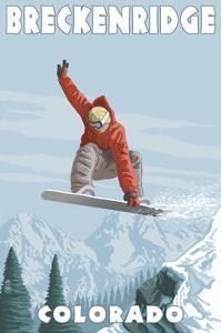 Breckenridge, Colorado - Snowboarder Jumping by Lantern Press