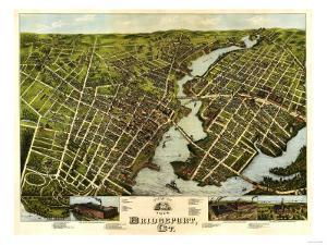 Bridgeport, Connecticut - Panoramic Map by Lantern Press
