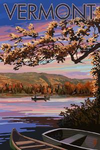 Bridges of Vermont - Lake at Dusk by Lantern Press