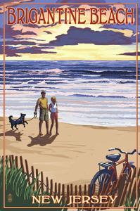 Brigantine Beach, New Jersey - Beach and Sunset by Lantern Press