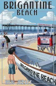 Brigantine Beach, New Jersey - Lifeguard Stand by Lantern Press