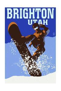 Brighton Resort, Utah - Colorblocked Snowboarder by Lantern Press
