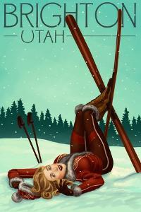 Brighton, Utah - Ski Pinup by Lantern Press