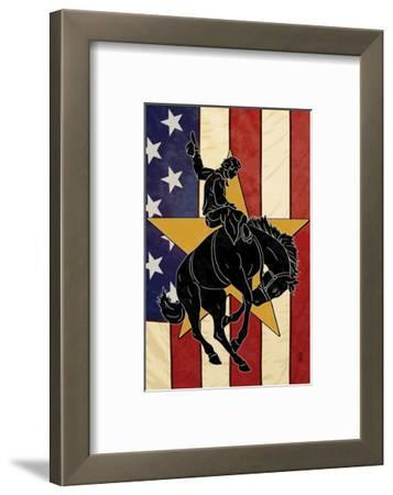 Bronco Bucking and Flag