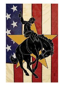 Bronco Bucking and Flag by Lantern Press