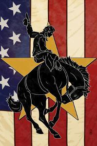 Bronco Bucking and Flag by Lantern Press