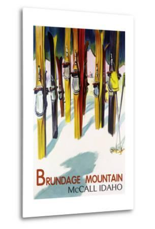Brundage Mountain - McCall, Idaho - Colorful Skis Lantern Press Poster