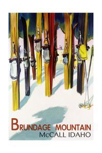 Brundage Mountain - McCall, Idaho - Colorful Skis Lantern Press Poster by Lantern Press