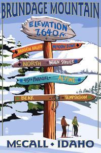 Brundage Mountain, McCall, Idaho - Ski Destination Signpost by Lantern Press