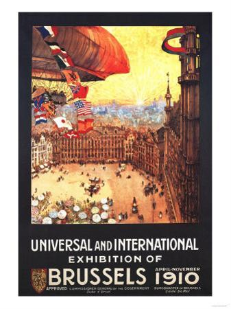 Brussels, Belgium - Lebaudy Airship with World Flags at Expo by Lantern Press