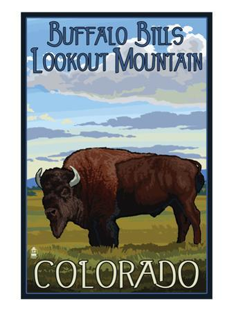 Buffalo Bills Lookout Mountain, Colorado - Bison Scene by Lantern Press