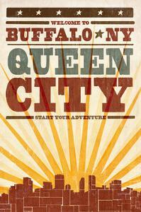 Buffalo, New York - Skyline and Sunburst Screenprint Style by Lantern Press