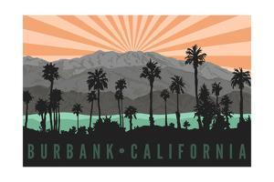 Burbank, California - Palm Trees and Mountains by Lantern Press