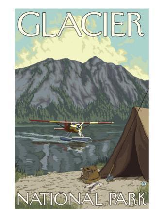 Bush Plane & Fishing, Glacier National Park, Montana by Lantern Press