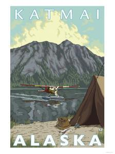 Bush Plane & Fishing, Katmai, Alaska by Lantern Press