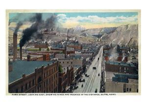 Butte, Montana, Eastern Aerial View of Park Street, Mines and Rockies in Distance by Lantern Press