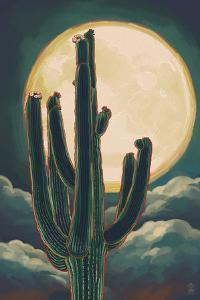 Cactus and Full Moon by Lantern Press