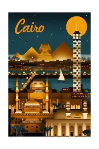 Cairo, Egypt - Retro Skyline by Lantern Press
