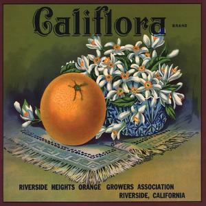 Califlora Brand - Riverside, California - Citrus Crate Label by Lantern Press