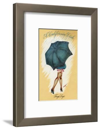 California - A Californian Dish, Frog's Legs; Woman with Good Legs and Umbrella
