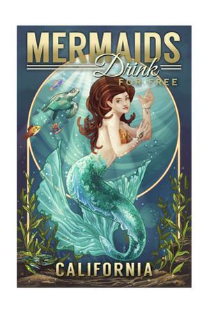 California - Mermaids Drink for Free (top) by Lantern Press