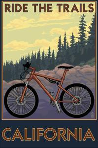 California - Mountain Bike Scene by Lantern Press