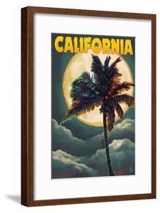 California - Palms and Moon by Lantern Press