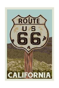 California - Route 66 - Letterpress by Lantern Press