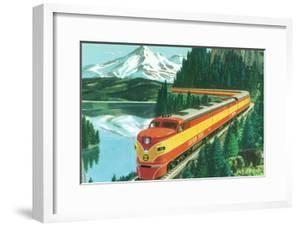 California - Southern Pacific Daylight Train Passing Mt Shasta by Lantern Press