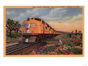 """California - Union Pacific Railroad """"City of Los Angeles"""" Train by Lantern Press"""