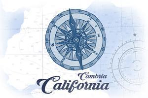 Cambria, California - Compass - Blue - Coastal Icon by Lantern Press