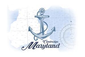 Cambridge, Maryland - Anchor - Blue - Coastal Icon by Lantern Press