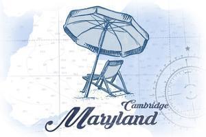 Cambridge, Maryland - Beach Chair and Umbrella - Blue - Coastal Icon by Lantern Press