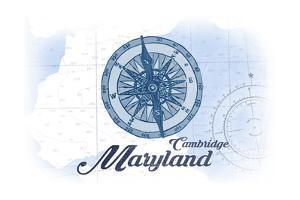 Cambridge, Maryland - Compass - Blue - Coastal Icon by Lantern Press