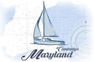 Cambridge, Maryland - Sailboat - Blue - Coastal Icon by Lantern Press