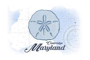 Cambridge, Maryland - Sand Dollar - Blue - Coastal Icon by Lantern Press
