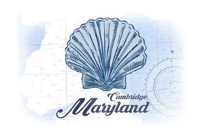 Cambridge, Maryland - Scallop Shell - Blue - Coastal Icon by Lantern Press