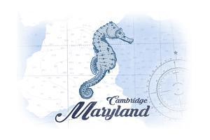 Cambridge, Maryland - Seahorse - Blue - Coastal Icon by Lantern Press