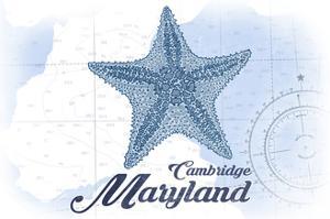 Cambridge, Maryland - Starfish - Blue - Coastal Icon by Lantern Press