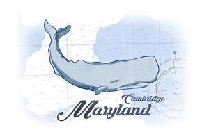 Cambridge, Maryland - Whale - Blue - Coastal Icon by Lantern Press