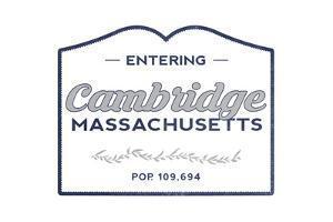 Cambridge, Massachusetts - Now Entering (Blue) by Lantern Press