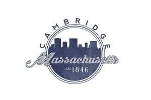 Cambridge, Massachusetts - Skyline Seal (Blue) by Lantern Press