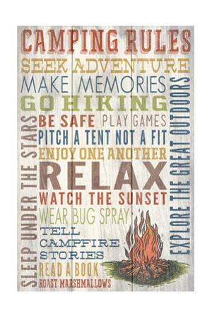 Camping Rules - Barnwood Painting by Lantern Press