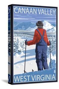 Canaan Valley, West Virginia - Skier Admiring View by Lantern Press