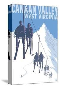 Canaan Valley, West Virginia - Skiers on Lift by Lantern Press