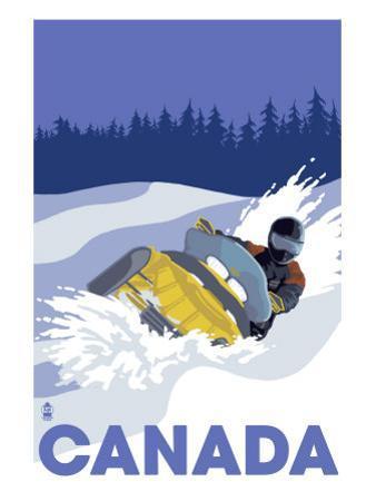 Canada, Snowmobile Scene by Lantern Press