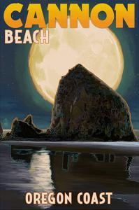 Cannon Beach, Oregon - Haystack Rock and Full Moon by Lantern Press