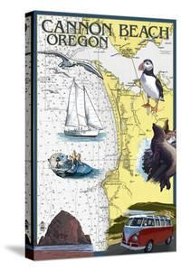 Cannon Beach, Oregon - Nautical Chart by Lantern Press