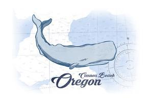 Cannon Beach, Oregon - Whale - Blue - Coastal Icon by Lantern Press