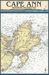 Cape Ann, Massachusetts - Nautical Chart by Lantern Press